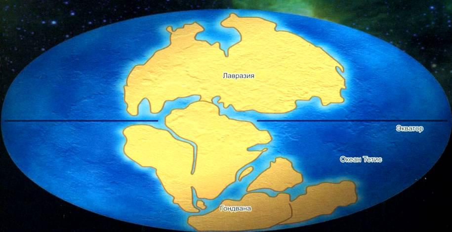 Древние материки Гондвана и Лавразия