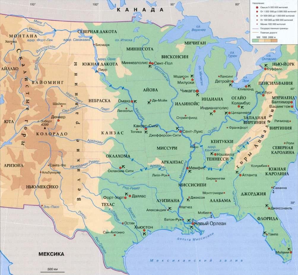 Карта реки Миссисипи