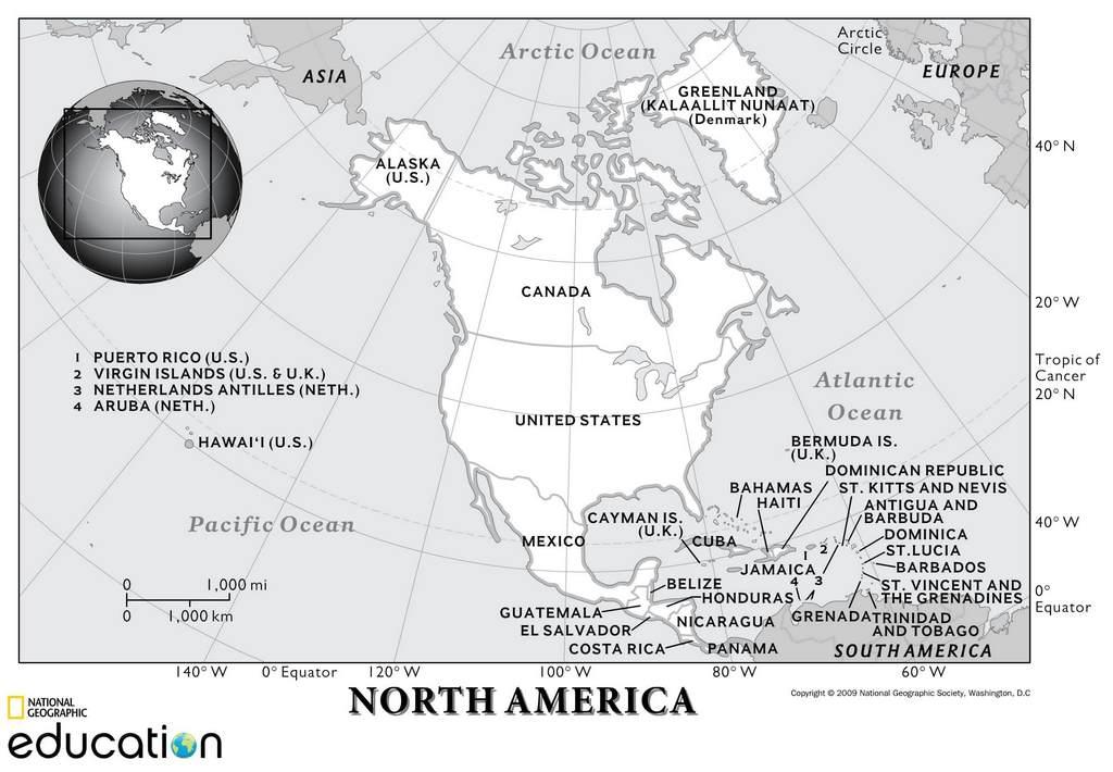 Северная Америка на карте