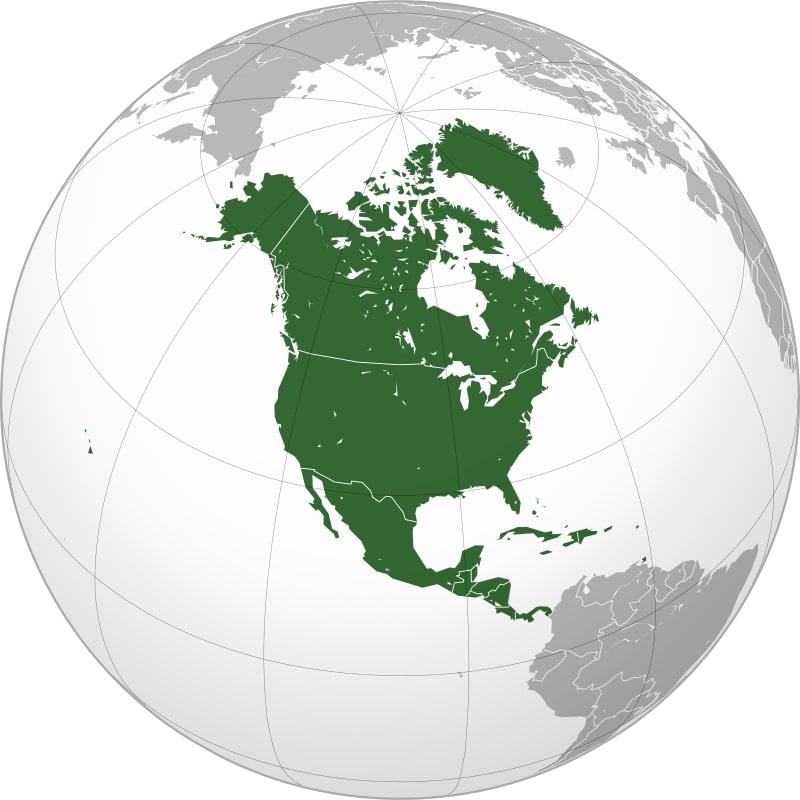 Северная Америка на глобусе