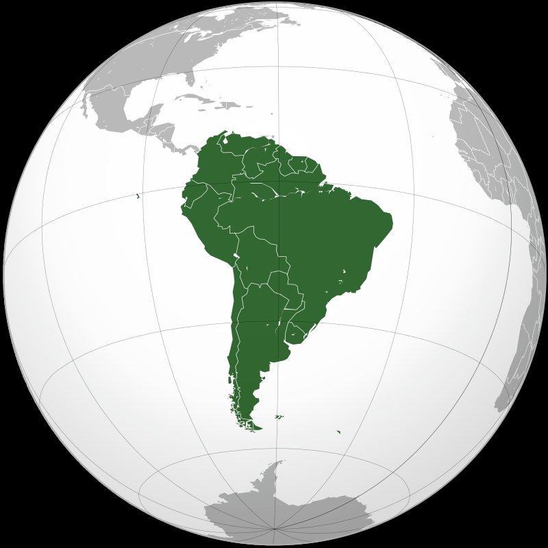 Южная Америка на глобусе