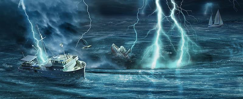 Молнии бьют в корабли